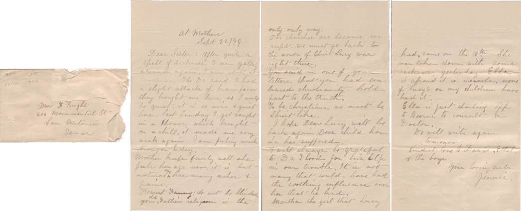 Fannie Bright Letter